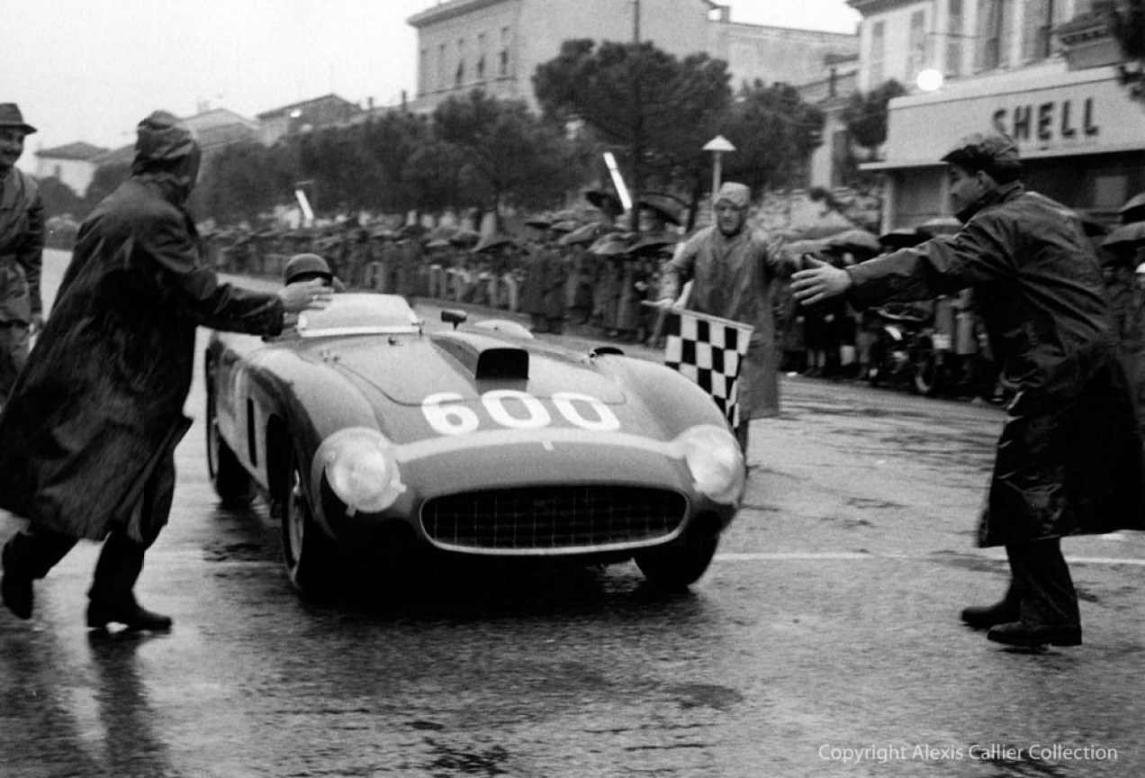 Juan Manuel Fangio completing the epic 1956 Mille Miglia
