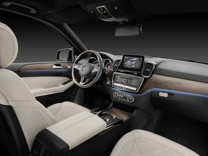 GLS 500 4MATIC ( Studio ), Interieur: Nappaleder Porzellan/schwarz, AMG Line, Zierteile: Holz Esche braun offenporig, interior: nappa leather porcelain/black, AMG line, trim parts: brown open-pore ash wood trim