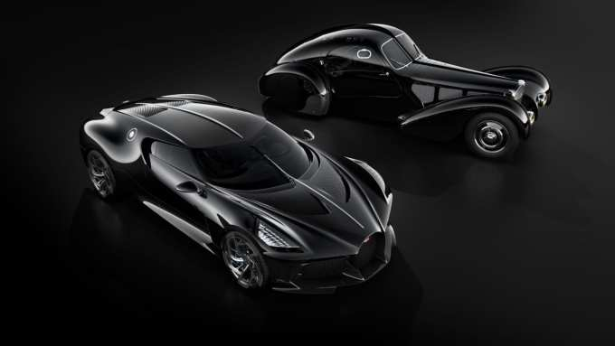 The Bugatti La Voiture Noire alongside its inspiration