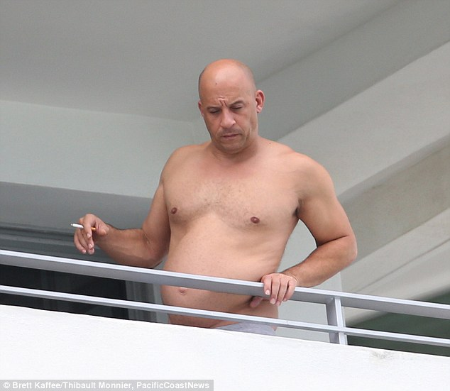 Vin Diesel showing his newly created belly