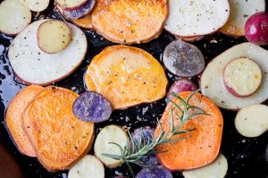 Fried heirloom potatoes with rosemary. Delicious!