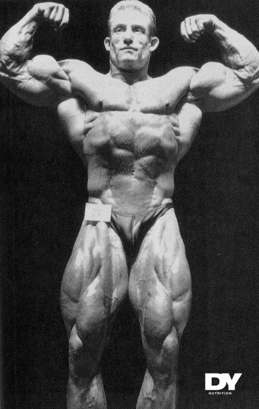 Dorian Yates posing in the Night of Champions. One of his first pro bodybuilding competitions, but defenently not his last as he won 6 Mr. Olympia titles.