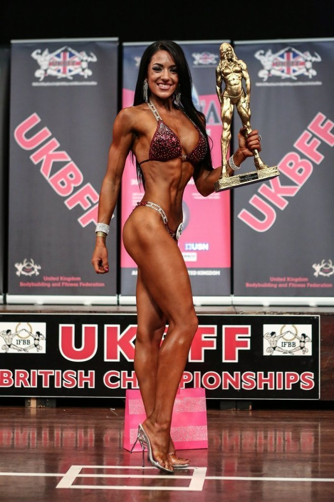 This image was used because it shows Emma Howie and her looks with 12% body fat during the UKBFF contest which makes it a perfect beach body.