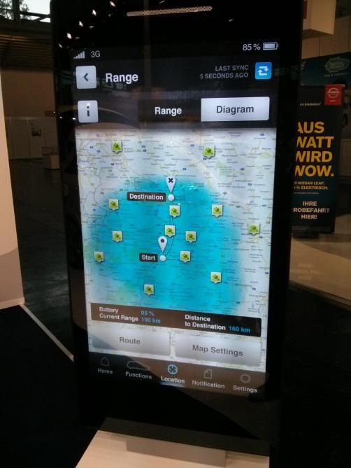 Reichweitenanzeige der Mercedes Emobility App