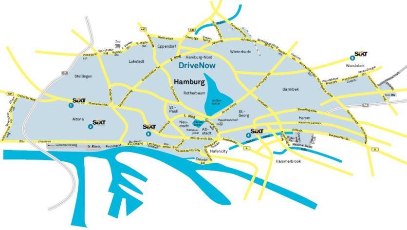 DriveNow Geschäftsgebiet Hamburg (Quelle: DriveNow)