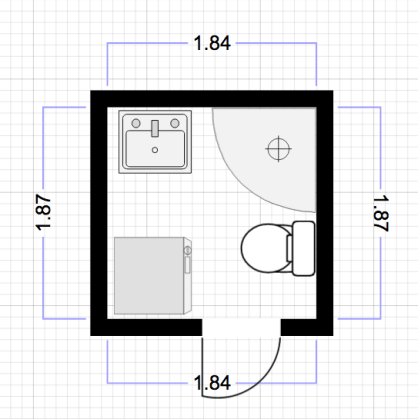approximate placement of the items. I haven't actually measured the length of the walls