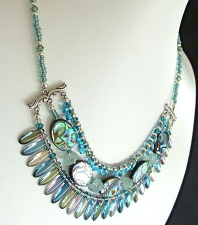 Gaia 16 inch Iridescent Shell and Crystal Necklace