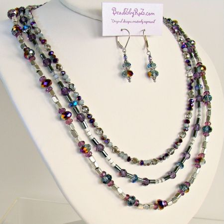 Beaded Purple and Silver Necklace