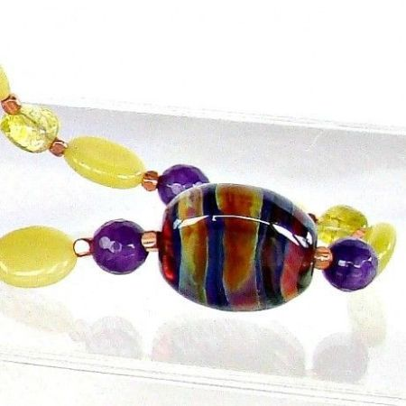 Purple and Lime Hand Blown Glass Bead Necklace Set