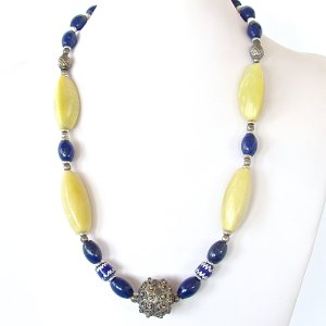 Lapis and Chartreuse Necklace