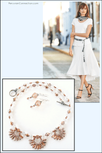 rose gold necklace with summer white outfit