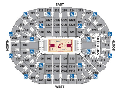 Seating map for a basketball stadium showing wheelchair access points