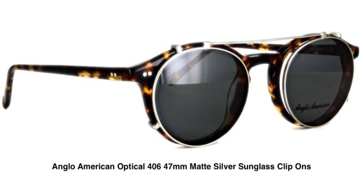 Anglo American Optical 406 47mm Matte Silver Sunglass Clip Ons