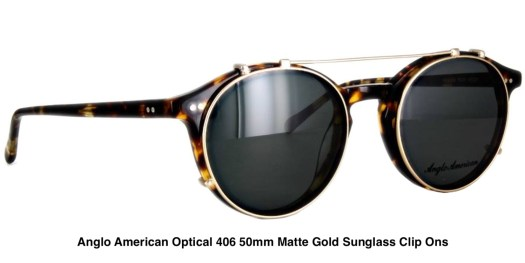 Anglo American Optical 406 50mm Matte Gold Sunglass Clip Ons