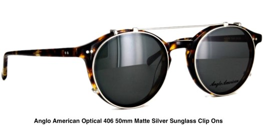 Anglo American Optical 406 50mm Matte Silver Sunglass Clip Ons