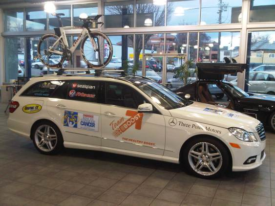 Team EBOOST Car for Ride to Conquer Cancer healthy energy drink mix