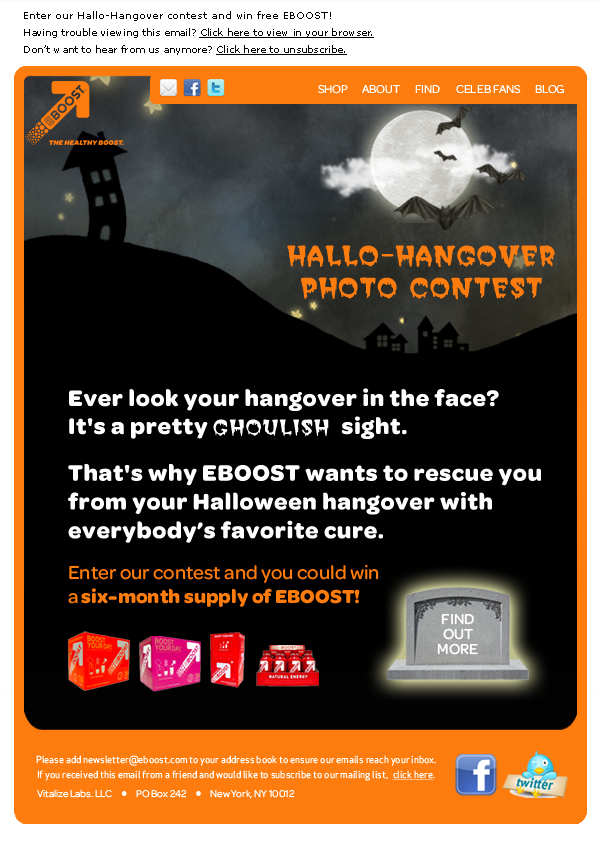 Halloween hangover contest EBOOST healthy energy drink mix