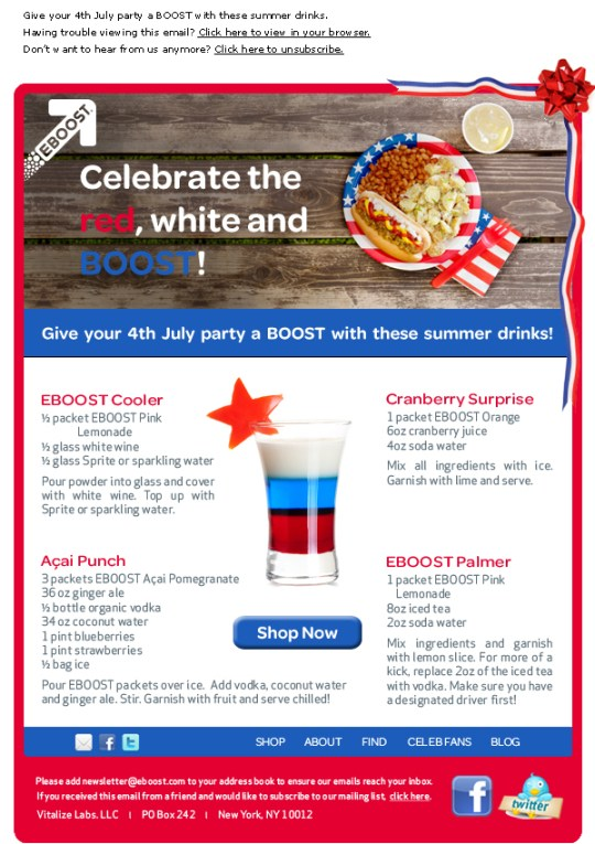 4th July EBOOST healthy energy drink mix