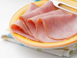fresh and tasty slices of turkey ham
