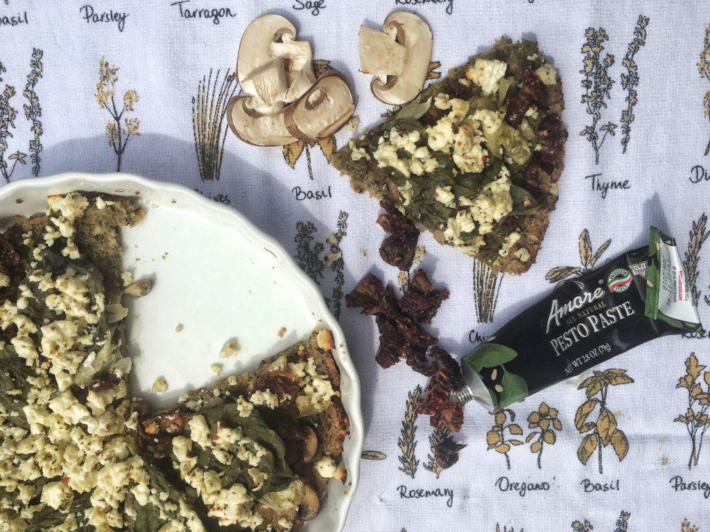 IMG 1755 e1492631959406 1024x768 - Roasted Garlic Basil Feta Cauliflower Pizza with a Spruce Drizzle