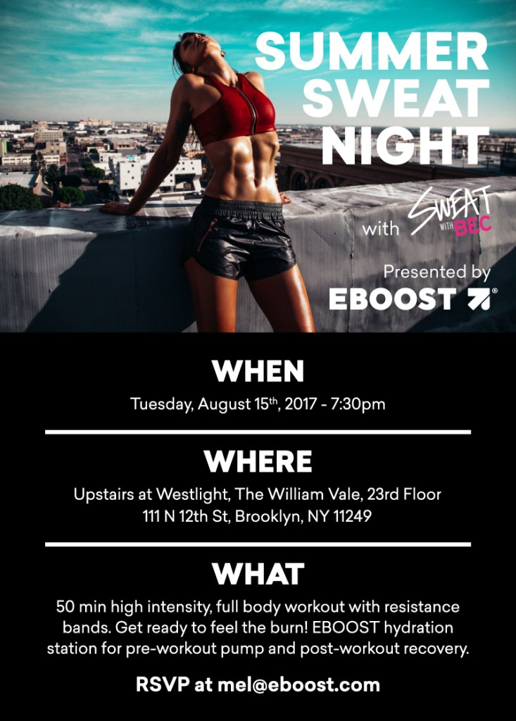 Summer Sweat Night 733x1024 - EBOOST Presents Summer Sweat Night at The William Vale in Brooklyn, NY
