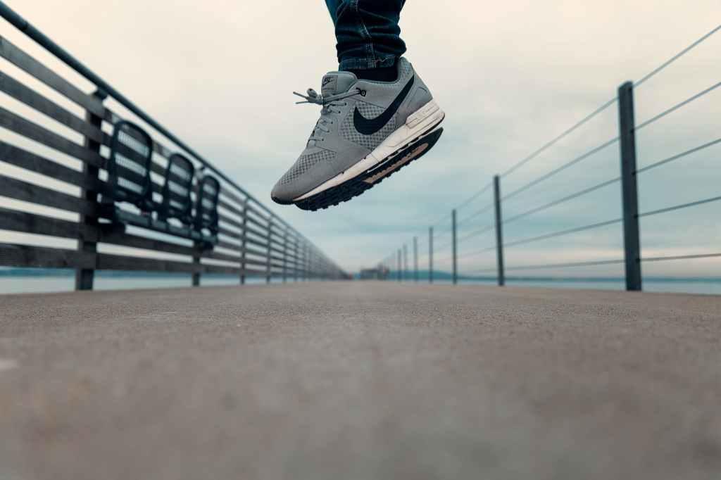 nike shoes jumping outside