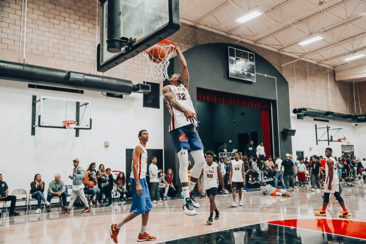 basketball player on a basketball court