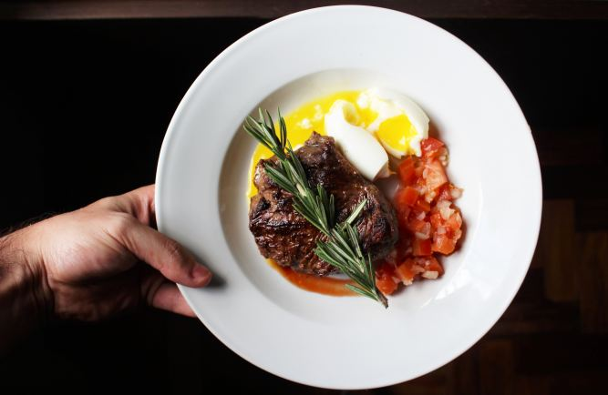 plate of steak and eggs