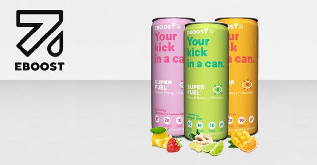 EBOOST SUPER FUEL cans with logo