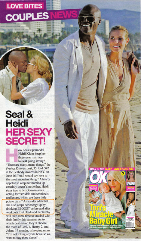 EBOOST and Heidi Klum in OK Magazine
