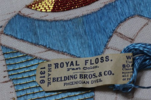 Royal Floss was produced by the Belding Company. Although the floss is quite old, it still retains its strength and vivid blue color.