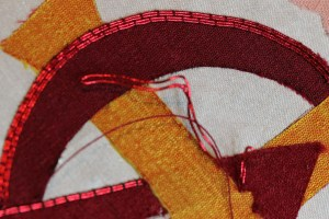 Red Passing Thread Couched with Silk Floss