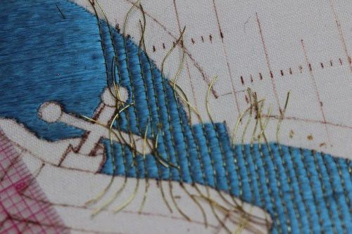 Couching Goldwork Threads over Laid Silk