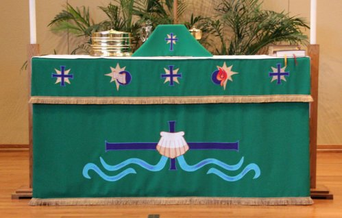 Green altar frontal after two years of use