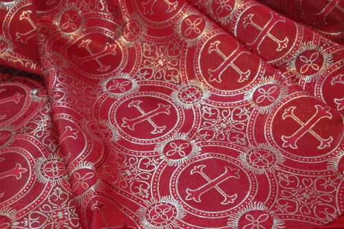 Red and Gold Fabric for Pentecost