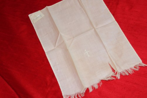 Baptismal towel with tiny hand embroidered cross