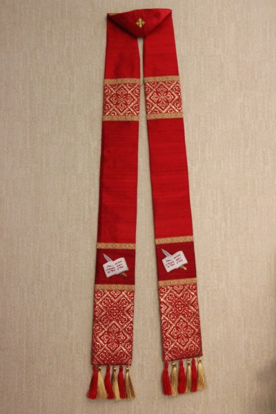 Stole with Sword of the Spirit Embroidery and Metallic Tassels