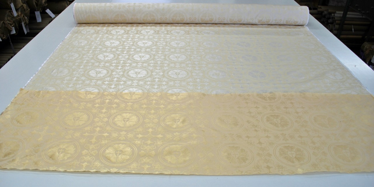 cream ivory off white luther rose silk brocade for church pastor priest deacon vestment design creation sewing