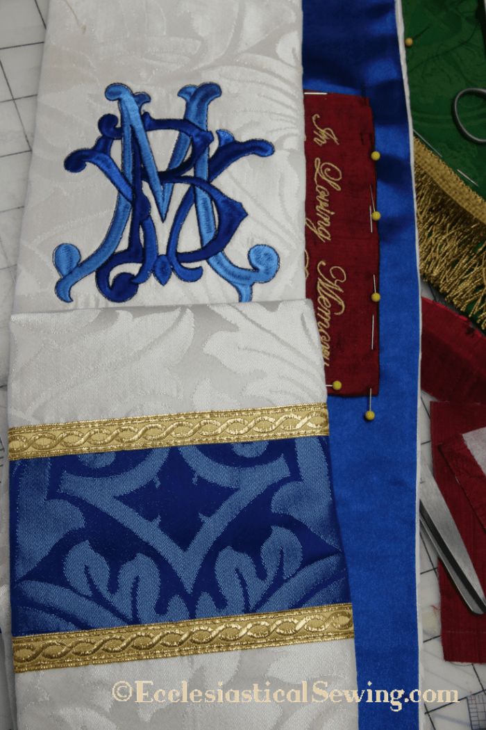 Mary Vestments for Priests and Deacons Ecclesiastical Sewing. Marian Vestments White Stole Blue Stole
