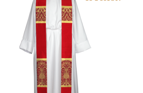 Red Liturgical brocade fabric red clergy stoles pastor stoles clergy stoles deacon stoles church vestments latin mass vestments Pentecost priest stoles silk dupioni stoles Liturgical brocade fabric installing a new pastor or priest installation of clergy christian catholic lutheran