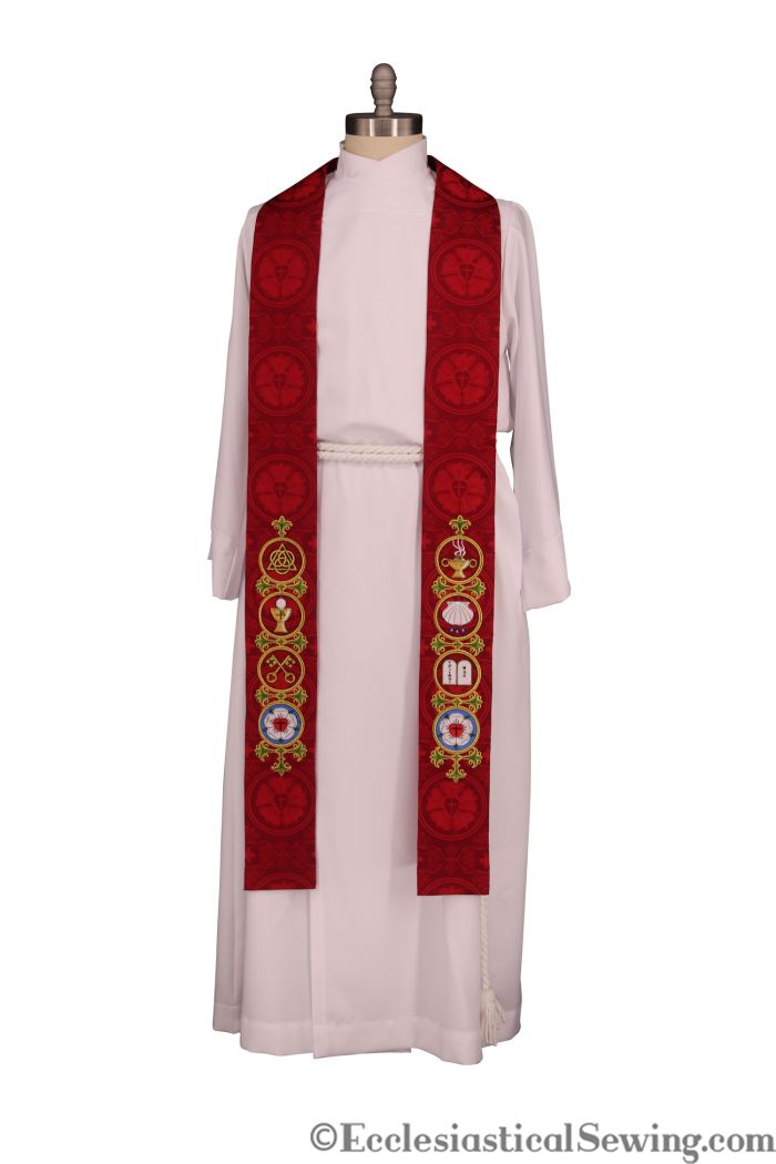 Red Catechesis Stole Reformation Stole Church Vestments Clergy Stole Priest Stole pastor Stole Lutheran Stole Pentecost Stole Clergy Vestments EcclesiasticalSewing