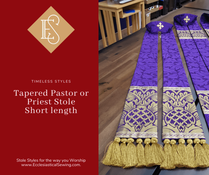 Stole in the St. Ambrose Collection for Lent. Short Tapered Stole