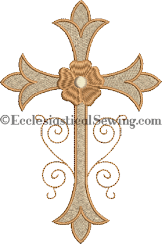 Fleur Cross with Floral Accent Machine Embroidery Design Ecclesiastical Sewing