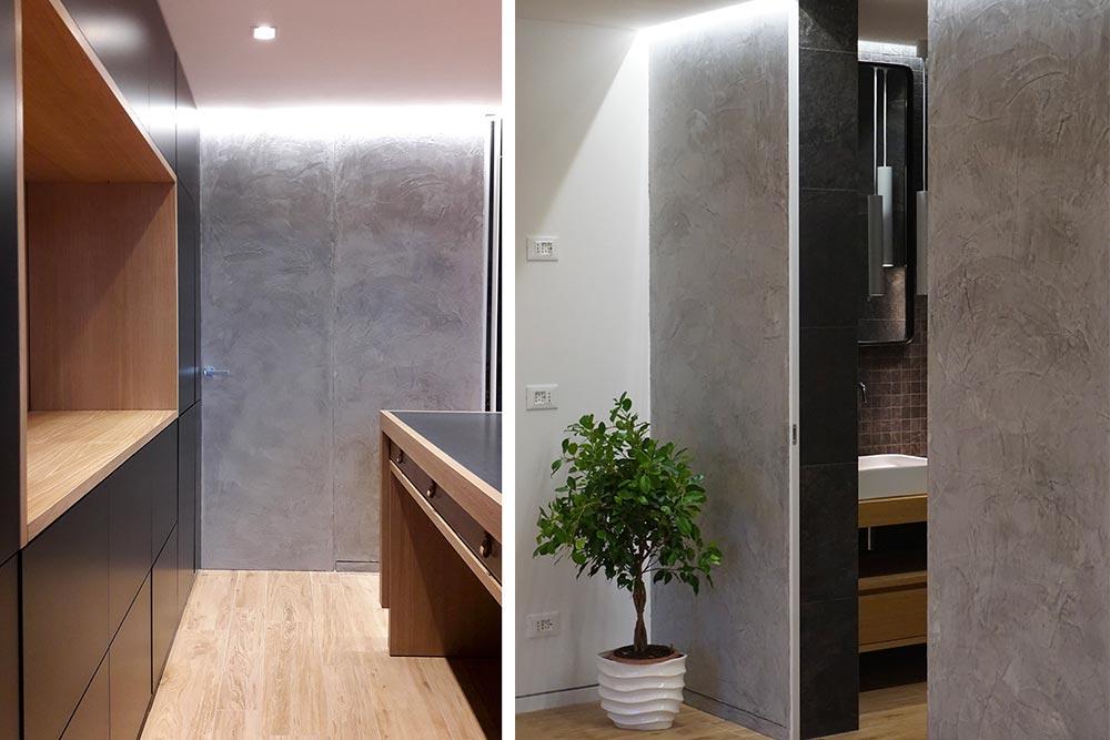 Porta filo muro con spatolato grigio