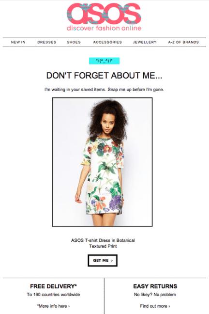 Newsletter od e-shop asos, připomenutí opuštěného košíku na e-shopu. Dokončete svůj nákup.