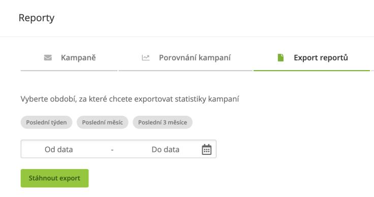 Export reportu kampaně v Ecomailu