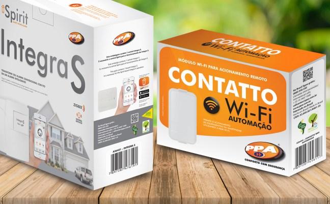 Foto mostra caixa com produtos da empresa PPA, utilizando Selo Verde Ecooar