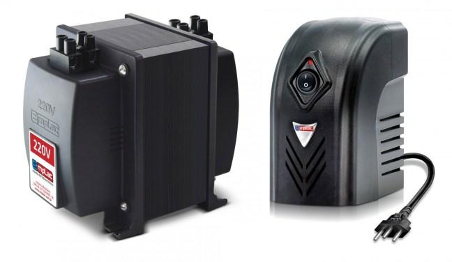 Foto mostram dois produtos, o autotransformador e o protetor eletrônico da empresa Emplac