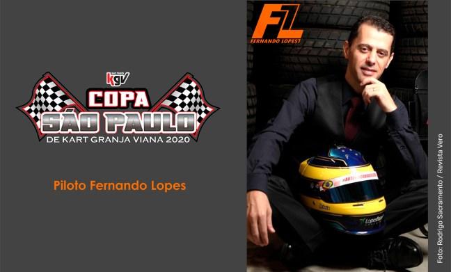 Foto mostra piloto de kart Fernando Lopes com a logo da Copa São Paulo de Kart Granja Viana 2020