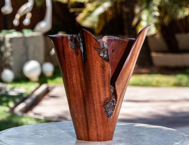 Foto tirada por Joelson Maia mostra vaso da Multiflora feito com a raiz da árvore de Jatobá